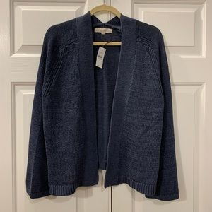 NWT LOFT Bell Sleeve Marled Open Cardigan Size L